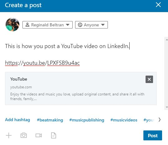 how to share non native video LinkedIn